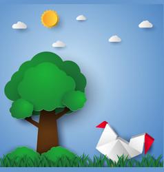 chicken in the garden paper art style vector image