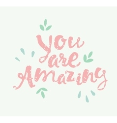 Drawn calligraphic quote You are amazing poster vector image vector image