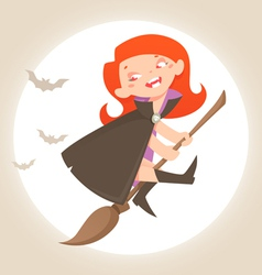 Halloween little witch vector image