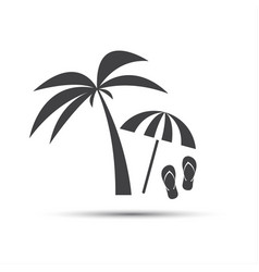 holiday icon with palm beach umbrella and flip vector image vector image