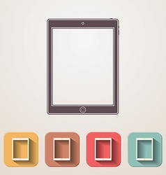 Tablet flat icons set fadding shadow effect vector image vector image