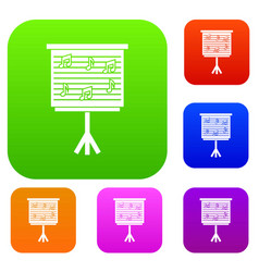 whiteboard with music notes set color collection vector image
