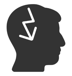 Brain Electric Strike Flat Icon vector image vector image