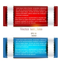 Colorful bookmarks for text Red and blue paper vector image
