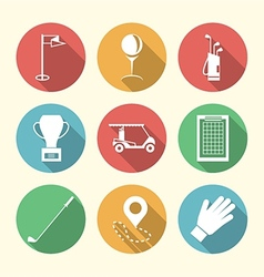 Flat colored icons for golf accessories vector image vector image