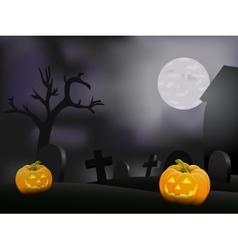 Halloween night background with pumpkin vector image