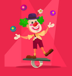 happy smiling clown character juggling bike vector image