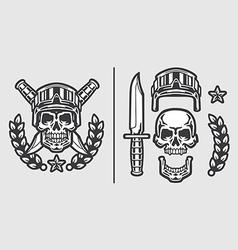 Skull Military Helmet with Knifes vector image