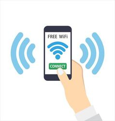Smartphone with free wifi wireless vector image