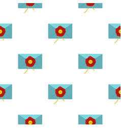 Blue envelope with red wax seal pattern flat vector