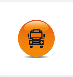 Bus school icon on an orange button vector