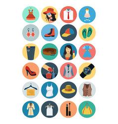 Fashion Flat Icons 1 vector image