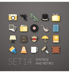 Flat icons set 14 vector image vector image