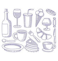 food and drinks doodles vector image