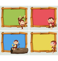 Frame design with cute monkeys vector image