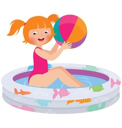 Girl with a ball in an inflatable pool vector image