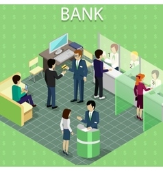 Isometric Interior of the Bank with People vector image