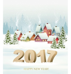 Winter village night New year background vector image vector image