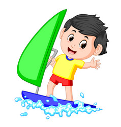 a boy sailing on the sea vector image