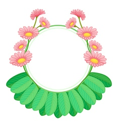 A round template with pink blooming flowers vector image