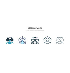 Assembly area icon in different style two vector
