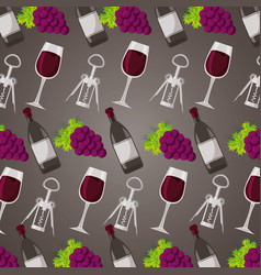 background wine corkscrew grapes vector image