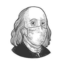 Benjamin franklin in medical mask sketch vector