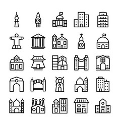 Buildings landmarks line icons 3 vector