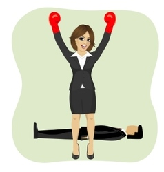 business woman cheering wearing boxing gloves vector image