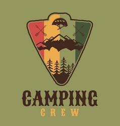 Camping crew logo retro camping adventure emblem vector