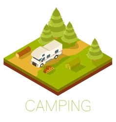 Camping isometric banner vector image