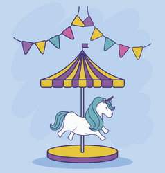 carousel with unicorn and garlands hanging vector image