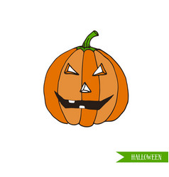 Cartoon halloween jack-o-lantern pumpkin sticker vector