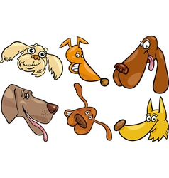 Cartoon happy dogs heads set vector