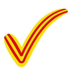 Check mark in the style of the flag of catalonia vector
