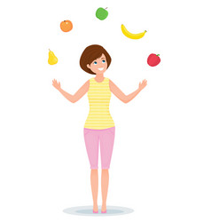 cheerful girl juggles with fruits and vegetables vector image