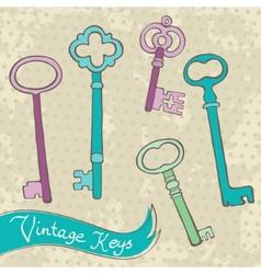Collection of retro keys vector image