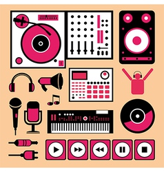 Colorful dj music set vector