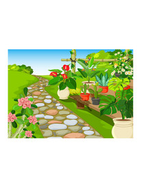Cool park with flowers cartoon vector