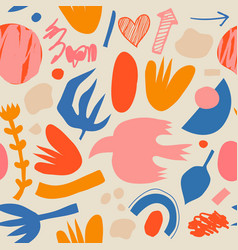 creative doodle art seamless pattern vector image