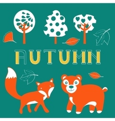 Cute autumn set with woodland creatures birds and vector