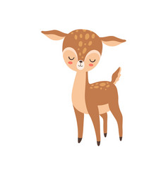 Cute baby deer standing with closed eyes adorable vector