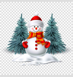 Cute realistic snowman in mittens scarf hat vector