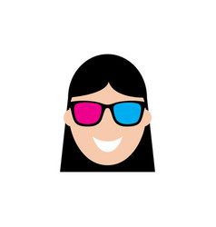 Cute woman using 3d sunglasses in flat icon vector