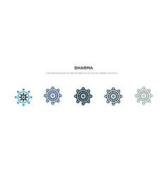 dharma icon in different style two colored and vector image