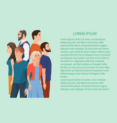 Different people standing near the copy space vector
