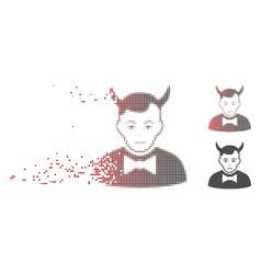 Dissolved pixel halftone devil icon vector