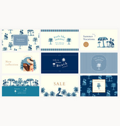 Editable summer banner templates in blue tone vector