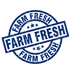 Farm fresh blue round grunge stamp vector