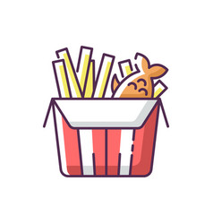 Fish and chips rgb color icon vector